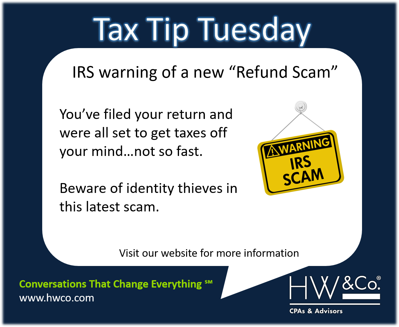 IRS warns on tax deadline scams: \'IRS Refunds\' email | HW&Co. CPAs ...